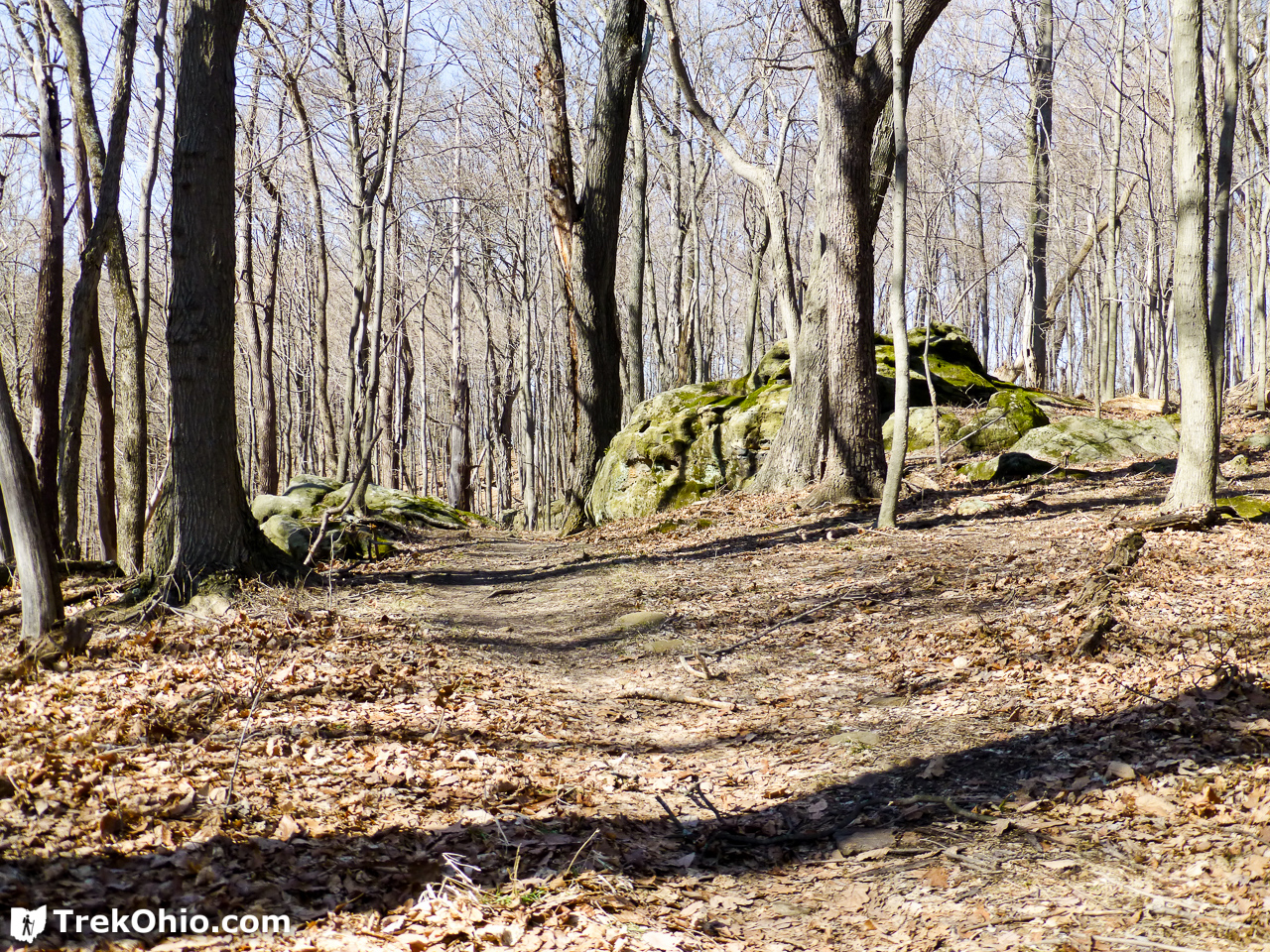 Rock outcroppings along the Shawnee Ridge Trail.