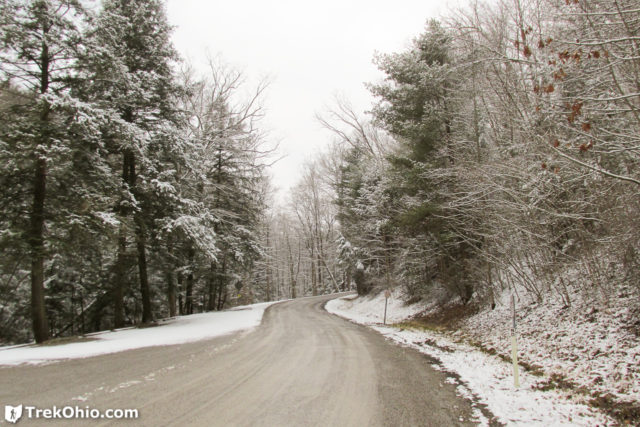 This is the road near the Mohican Covered Bridge. Road crews had already salted it and added grit.