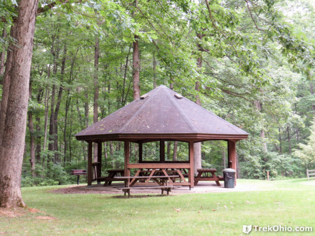 Beyond the shelter at the treeline is the trailhead for pine run