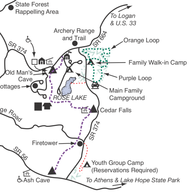 Excerpt of trail map shows trail from Old Man's Cave to Ash Cave. Note that the trail goes by Rose Lake, but not around it.