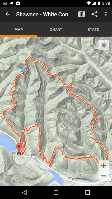 MyTracks Map - GPS trace of our 8.4 mile October 31, 2015 hike at Shawnee State Forest